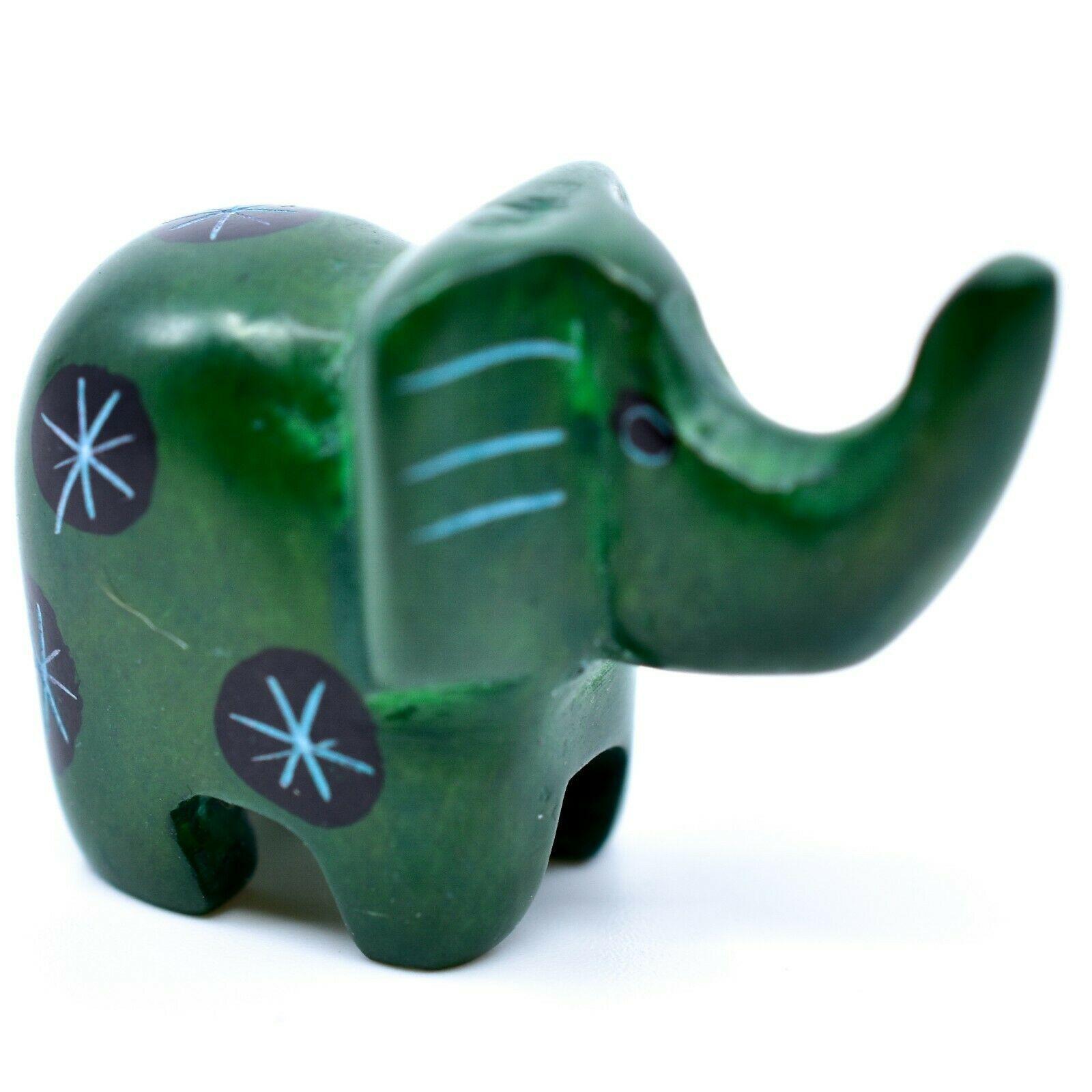 Tabaka Chigware Hand Carved Kisii Soapstone Miniature Green Elephant Figurine