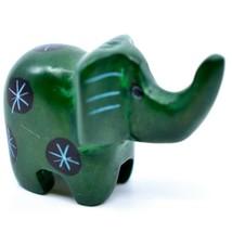 Tabaka Chigware Hand Carved Kisii Soapstone Miniature Green Elephant Figurine image 1