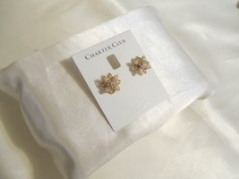 Charter Club Gold-Tone Crystal & Pink Stone Flower Stud Earrings F232 - $10.01