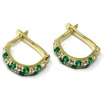 18K YELLOW GOLD MINI 10mm CIRCLE HOOPS EARRINGS, GREEN & WHITE CUBIC ZIRCONIA image 3