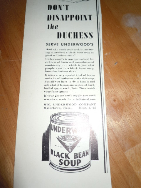 Vintage Underwood Black Bean Soup Cartoon Print Magazine Advertisement 1937 image 3
