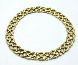 Crown Trifari Patent Pending Gold Tone Intertwine Chain Link Choker Neck... - $49.49