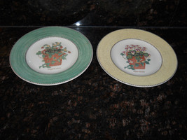 Wedgwood Sarah's garden set of 2 salad plates green yellow - $19.75