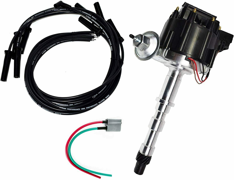 Cadillac HEI Distributor 368 425 472 500 V8 8.0mm Spark Plug Kit