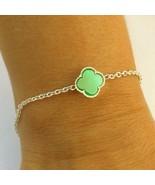 silver onyx clover bracelet Clover Alhambra Bracelet Sterling silver Gre... - $36.00