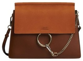 Chloe Faye shoulder bag in smooth calfskin & suede calfskin - $1,550.00