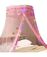 Canopy Bed Curtains with Lights Round Dome Princess Play Tent Reading Be... - $68.45