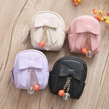 Women Faux Leather Mini Bowknot Keychain Dangle Bead Pendant Bag Coin Purse - $13.99