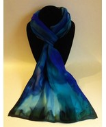 Hand Painted Silk Scarf Teal Purple Blue Rectangle Head Neck Ladies Unique Gift  - £44.76 GBP