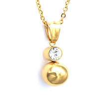 Shiny Ball Earrings With Necklace Pendant Women Jewelry Sets Stainless Steel Gol image 3