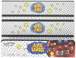 Ginger Ray Comic Superhero Hero Juice Party Bottle Labels 12 Pack, Mixed - $5.60