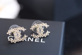 Authentic Chanel 2019 Classic CC Logo Crystal Gold Stud Earrings  image 3