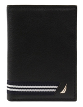 Nautica Men's Genuine Leather Credit Card Id Holder Trifold Wallet image 5
