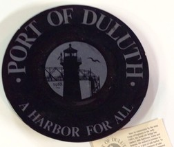 RARE Port of Duluth MN Black Porcelain Plate A Harbor For All Hanft Law ... - $34.65