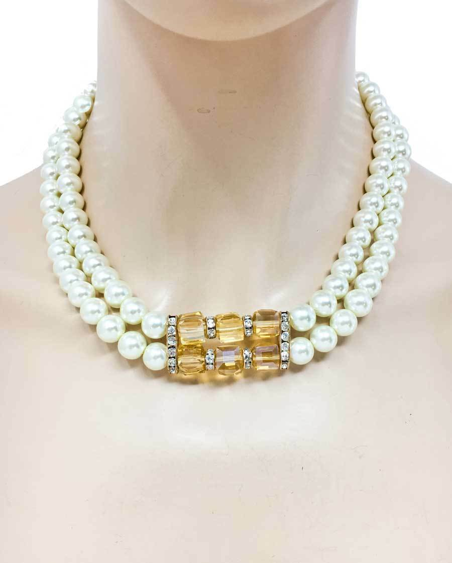 Primary image for Cream Faux Pearls Neutral Cognac Light Brown Austrian Crystals Necklace Earrings