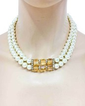 Cream Faux Pearls Neutral Cognac Light Brown Austrian Crystals Necklace ... - $17.05