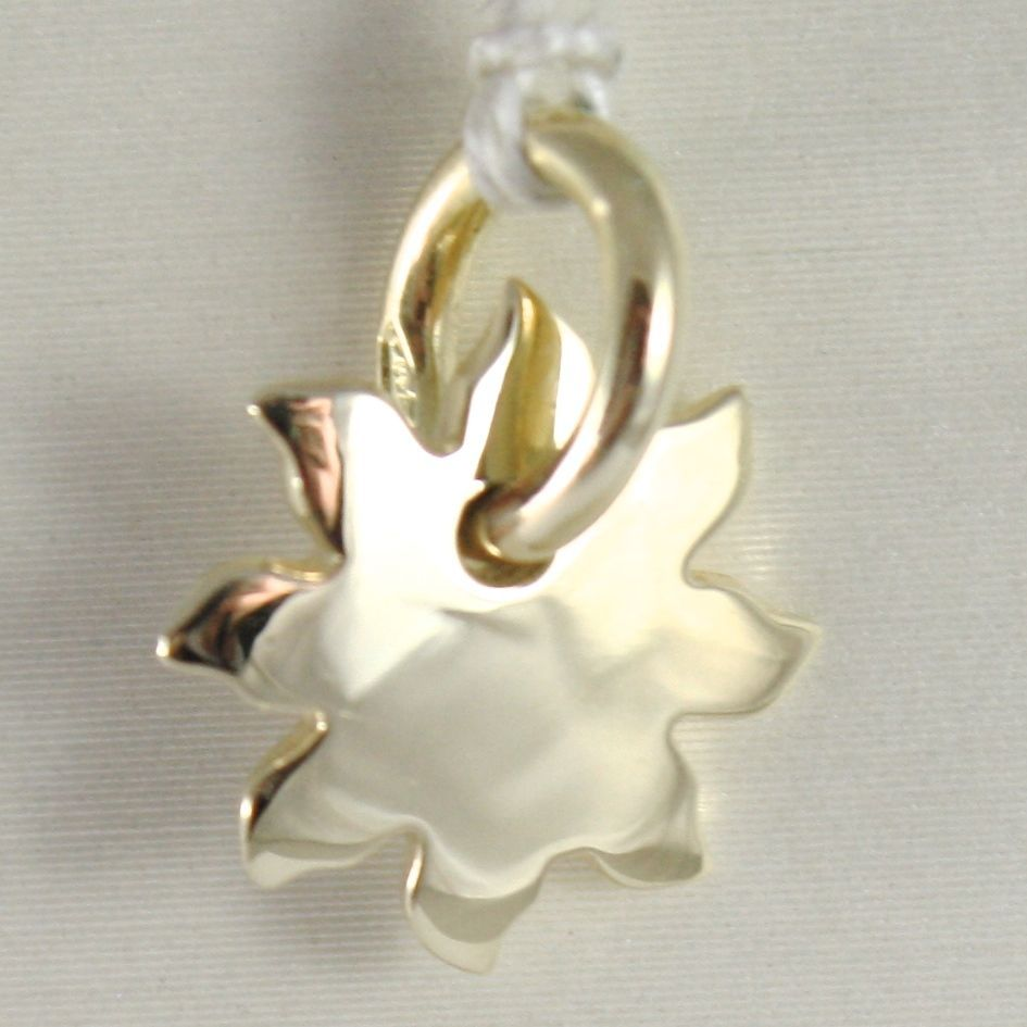 YELLOW GOLD PENDANT 750 18K SUN SOLID WITH RAYS, LONG 1.3 CM, MADE IN ITALY