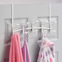mDesign Decorative Metal Over Door 10 Hook Storage Organizer Rack - for Coats, H image 3