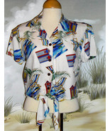 CARIBBEAN JOE Hawaiian Crop Top Shirt Off-White Red Blue Ladies Size Medium - $18.76
