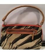 Ann Taylor LOFT Zebra Print Brown Beige Orange Metallic Canvas Shoulder Bag - $29.65