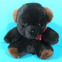 "Eden Teddy Bear Dark Brown 8"" Plush Stuffed Animal Toy Vintage Red Cord ... - $33.95"