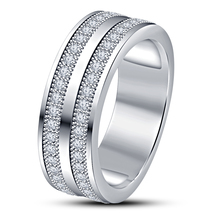 10k White Gold Plated Pure 925 Sterling Silver Diamond Engagement Mens B... - $88.98