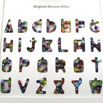 "LETTER E PENDANT MURANO GLASS MULTI COLOR MURRINE 2.5cm 1"" INITIAL MADE IN ITALY image 2"