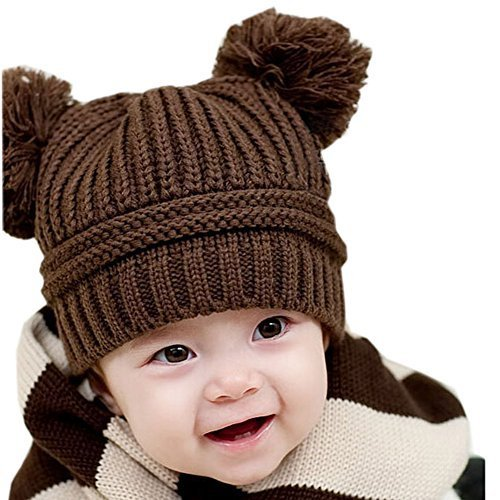 Lovely Coffee Infant Winter Cap Baby Woolen Knitted Hat For 6~24months