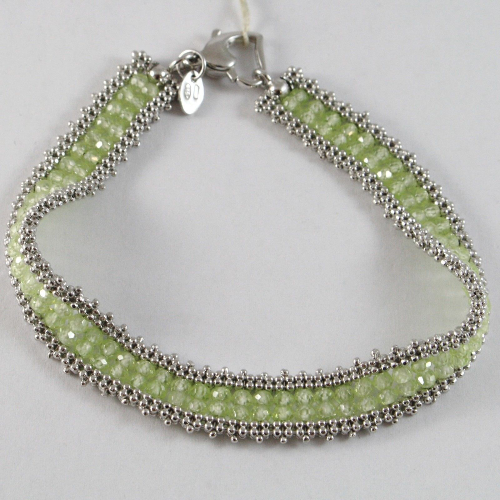 925 STERLING SILVER TENNIS BRACELET WITH PERIDOT, MULTI WIRE AND BALLS, ITALY