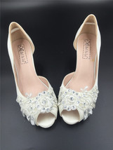 Women Ivory White Lace Satin Wedding Heels,Ladies Bridal Shoes,Peep Toe ... - $48.00