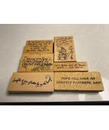 Collection of 6 Wood Mounted Sayings Stamps - $19.79
