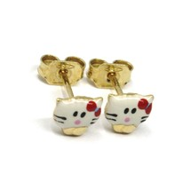 18K YELLOW GOLD ROUNDED ENAMEL EARRINGS MINI CAT 6mm, MADE IN ITALY image 2
