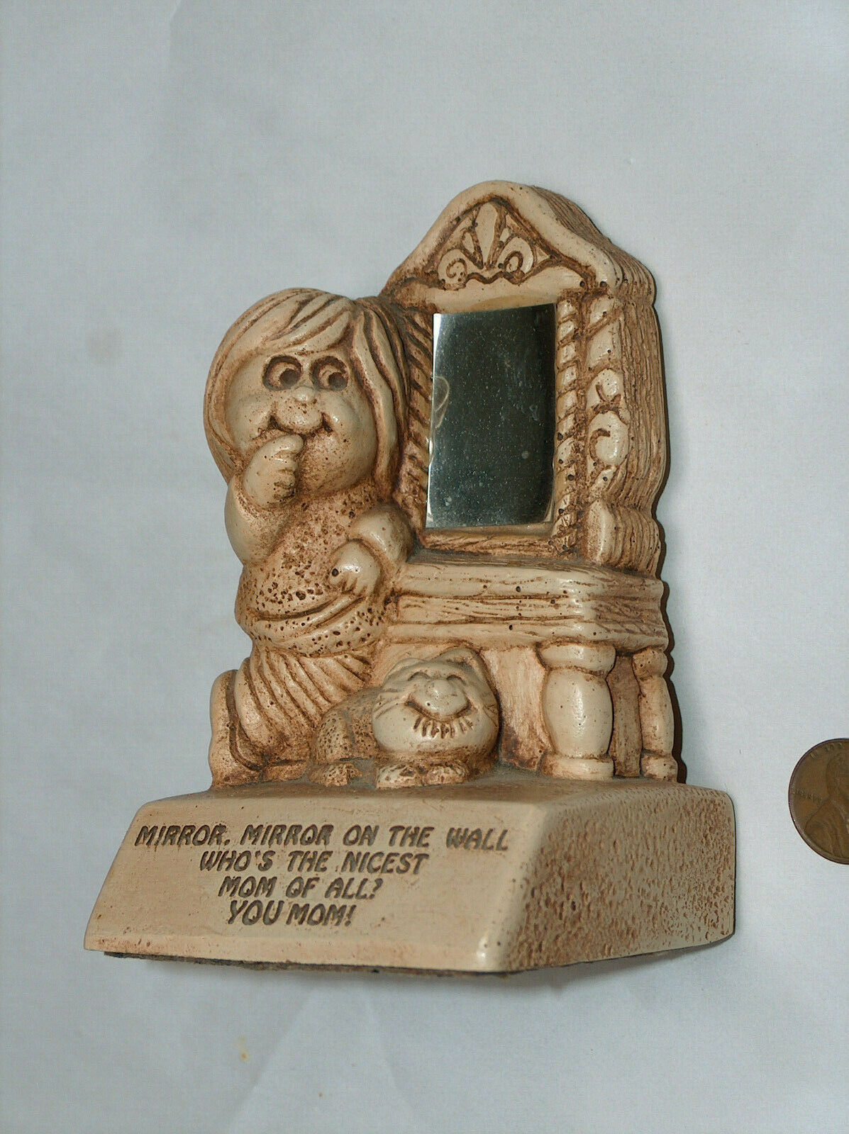 VTG PAULA 1972 Mirror On The Wall Who's Nicest Of All, YOU MOM! Wood Figure W312
