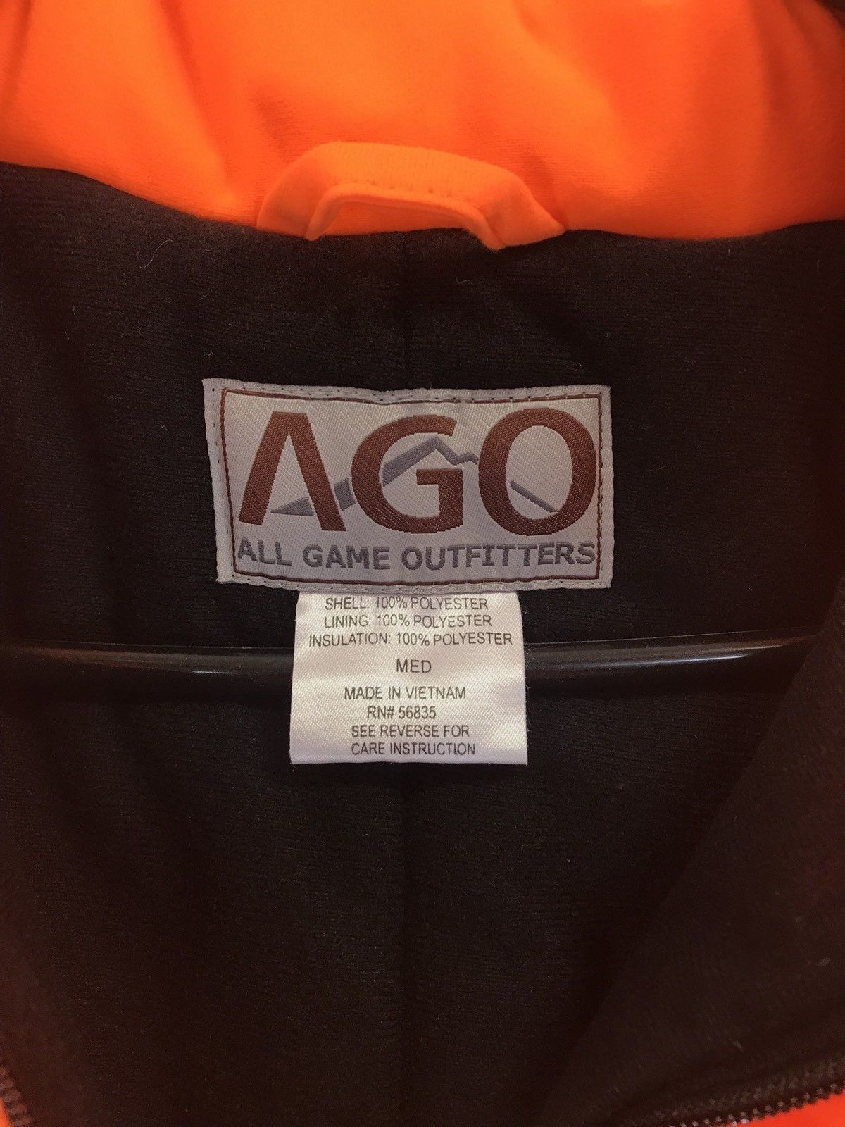 989ff1b5744da AGO ALL GAME OUTFITTERS One Piece Safety Orange Hunting Coverall's Men's ...