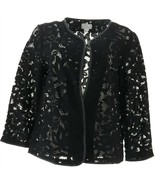 Joan Rivers Who Are You Wearing Lace Jacket Faux Leather Black 18W NEW A... - $50.47