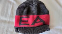 Emporio Armani Designer Beanie Hat Cap Visor Pure virgin wool Grey Red U... - $59.00