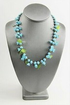 """19"""" ESTATE VINTAGE Jewelry MURANO TURQUOISE ART GLASS FLOWER & LEAF NECK... - $65.00"""