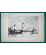 PANAMA Indian Settlement on San Blas Bay Island - 1891 Antique Print Eng... - $20.25