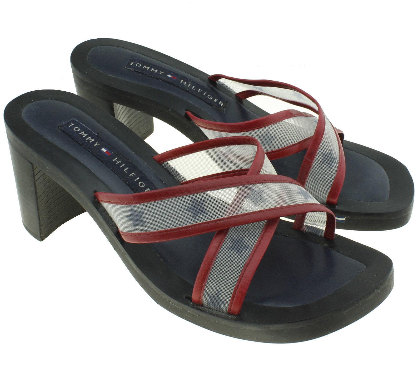 a5981677d25 Tommy Hilfiger Size 7.5 Women s Vintage Red White Blue Star Heels Sandals -   20.44