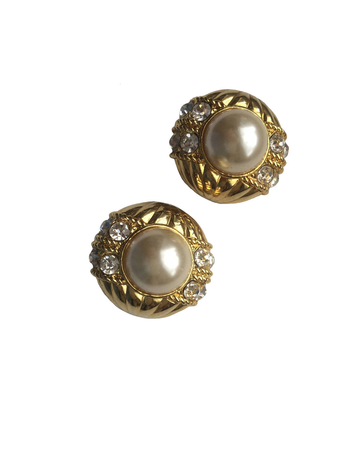 80s Chunky Faux Pearl Cabochons and Rhinestones Textured Gold Metal Clip On Earr