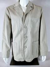 Calvin Klein J EAN S Mens Large L/S Tan Button Down 2 Pocket Lined Jacket Nwt (B9) - $39.49