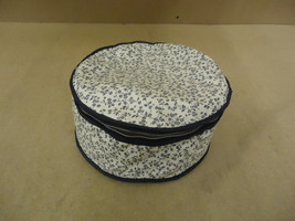 Cover Ups Dish Case 12in Diameter x 5in H White/Blue Floral Plastic - $10.19