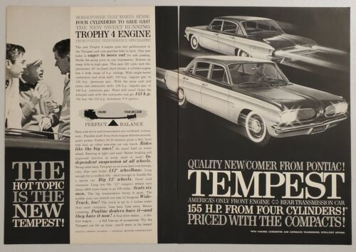 Primary image for 1960 Print Ad The 1961 Pontiac Tempest with Trophy 4 Engines