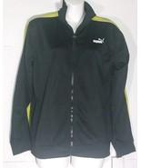 Puma Track Jacket Warm Up Full Zip Black Yellow Size Youth Large L Pocke... - $34.64