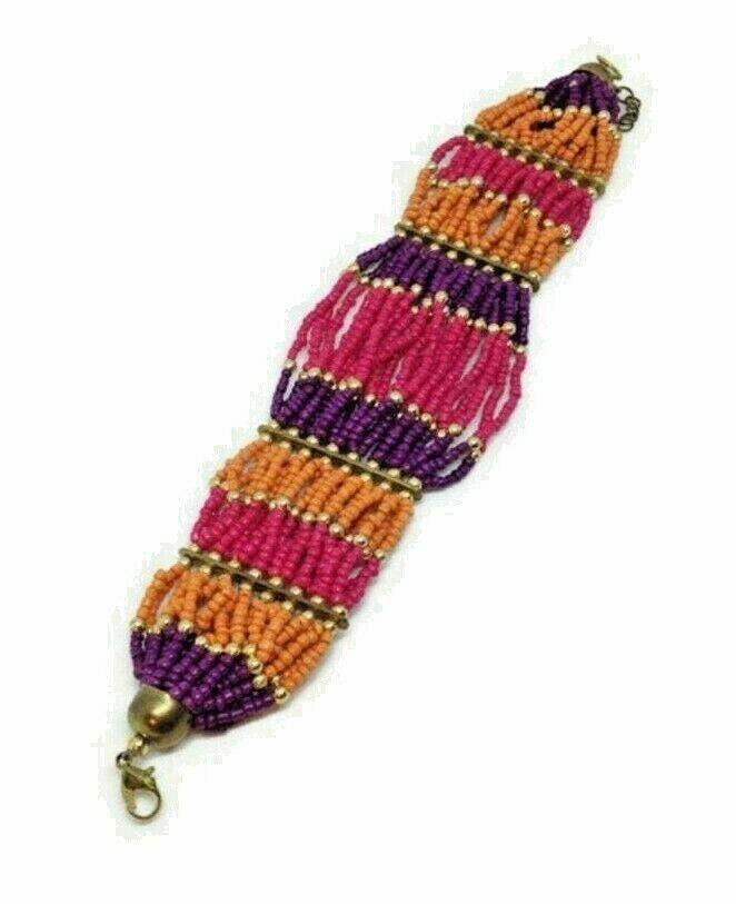 Woven Seed Bead Bracelet, Wide NA Style, Boho Hippie, Flower Child, Pink Orange - $18.80