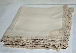 Maderia Vintage Hand Made and Embroidered Linen Napkins LOT of 8 Ecru wi... - $63.21
