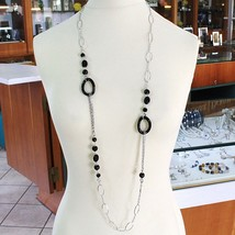 Necklace Silver 925, Onyx Black Wavy, Length 115 cm, Chain Oval image 1