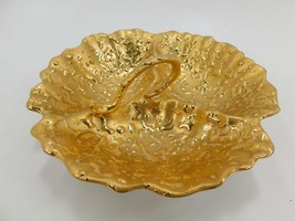 Vintage 22K Gold Weeping-Bright Gold 3 Compartment Serving Dish USA #YB-... - $14.99