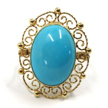 18K YELLOW GOLD RING, CABOCHON OVAL TURQUOISE WORKED FLOWER FRAME, MADE IN ITALY image 2