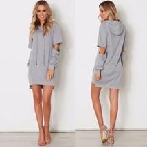 Women Hooded Long Sleeve Pullover Type Above Knee Dress Drawstring Zipper Sleeve - $25.98